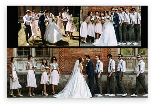 composizione foto matrimonio con amici