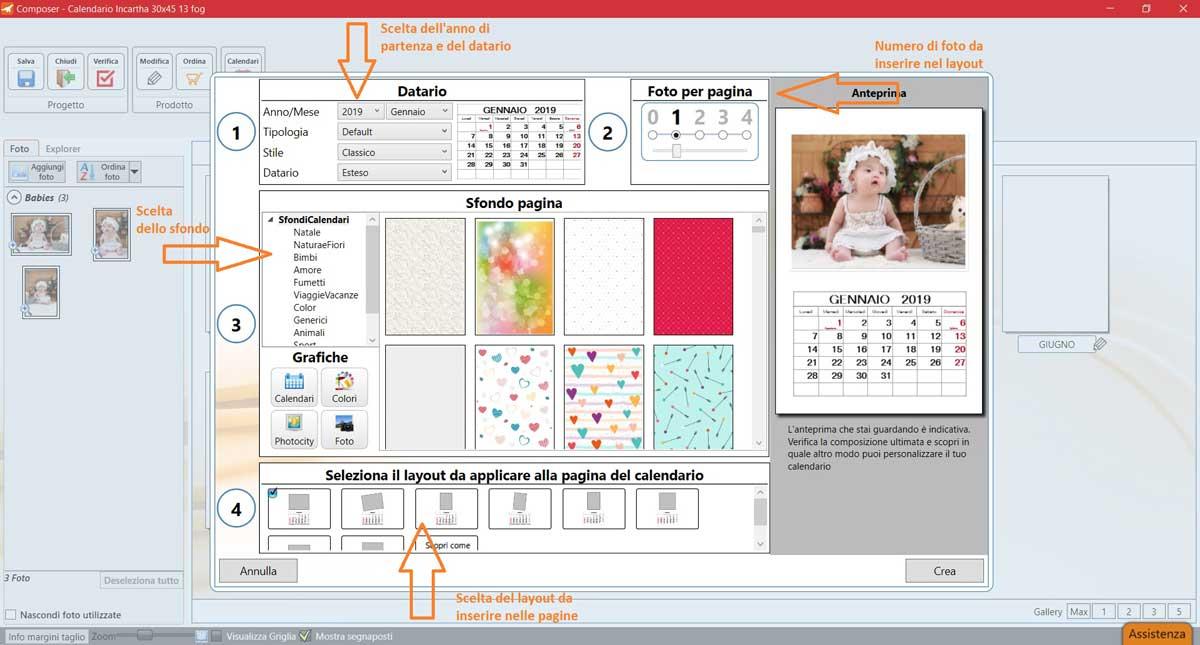 creare calendari personalizzati