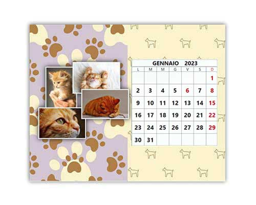 Calendario con foto animali layout