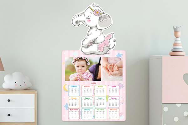 calendario mirai elefante rosa