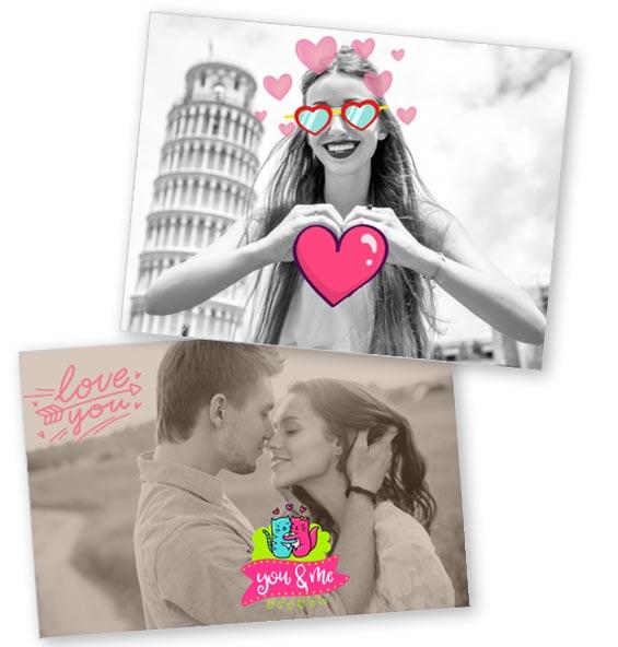 foto personalizzate con stickers amore